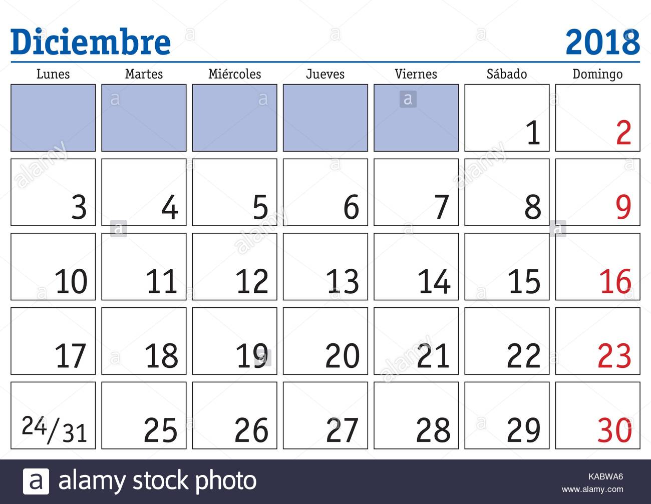 December Month In A Year 2018 Wall Calendar In Spanish Diciembre