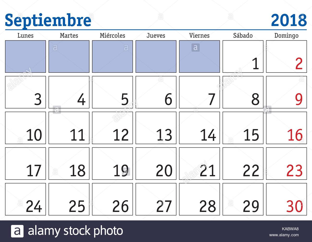 September month in a year 2018 wall calendar in spanish
