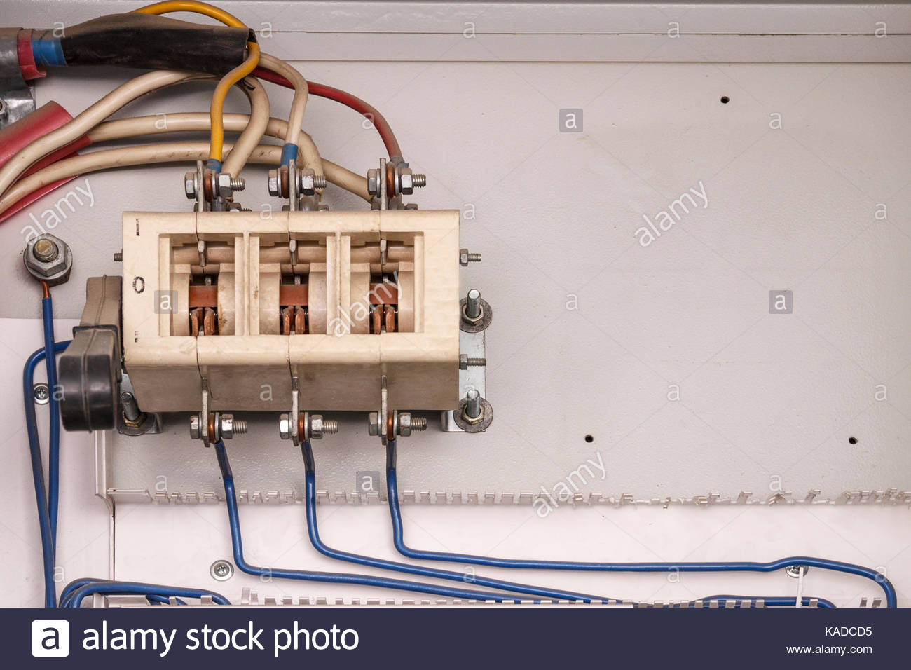 Circuit Breakers Stock Photos Images Alamy Electrical Control Panel With For Electric Motor During Mantenance Image
