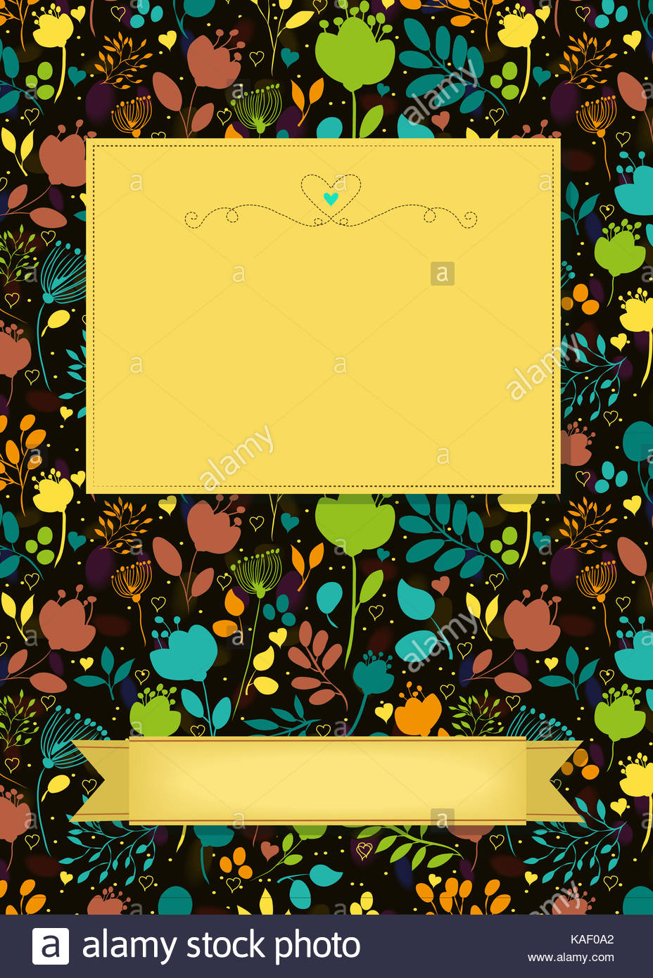 Floral greeting card. Bright colorful silhouettes of flowers and ...