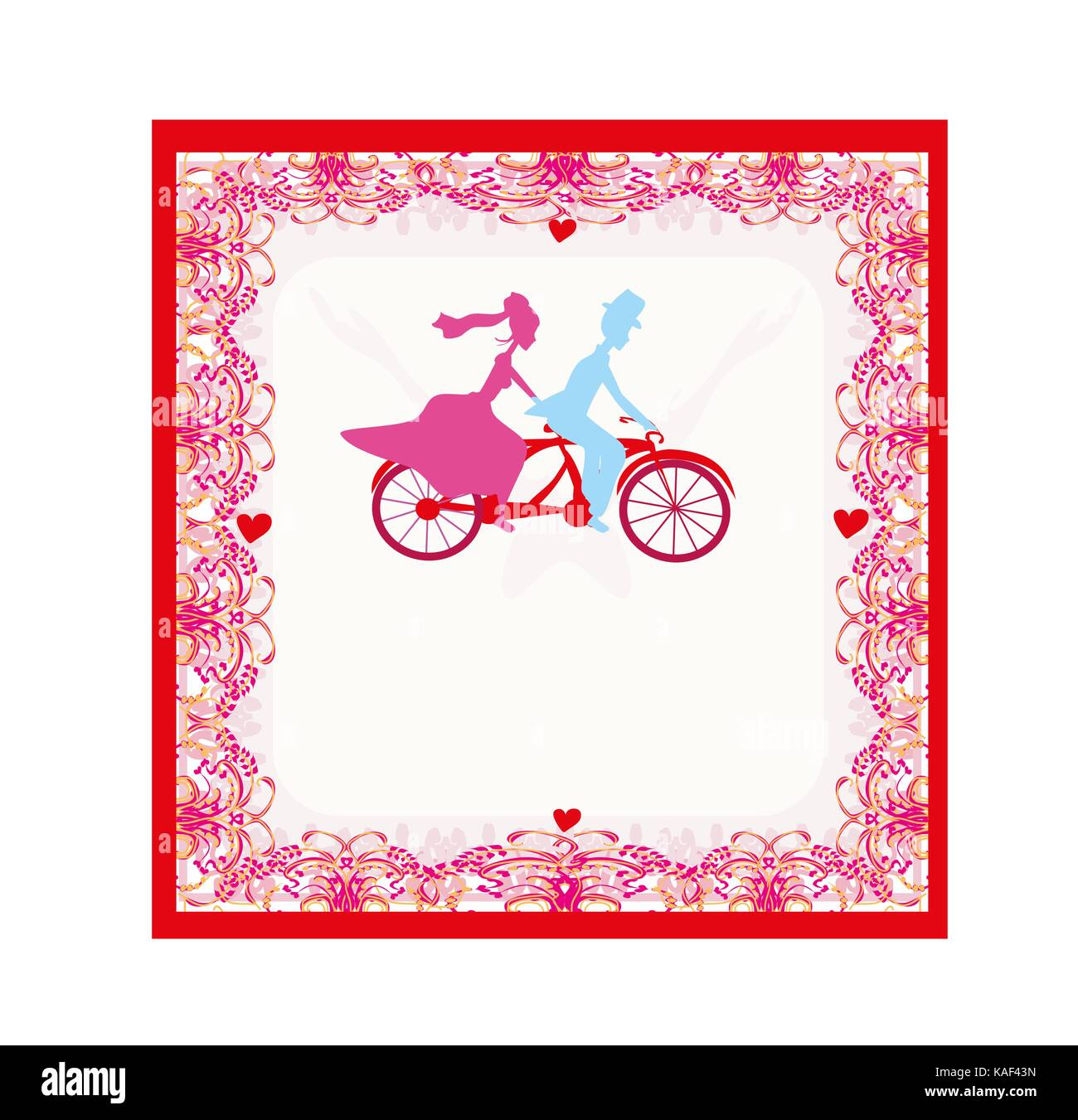 wedding invitation with bride and groom riding tandem bicycle Stock ...