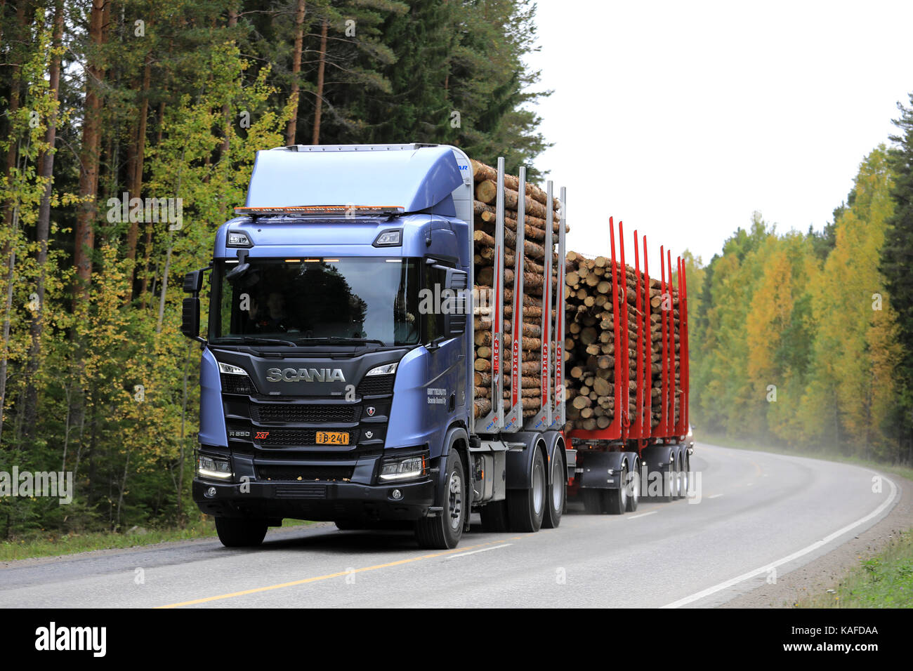 laukaa finland september 22 2017 scania r650 xt logging truck on stock photo royalty free. Black Bedroom Furniture Sets. Home Design Ideas