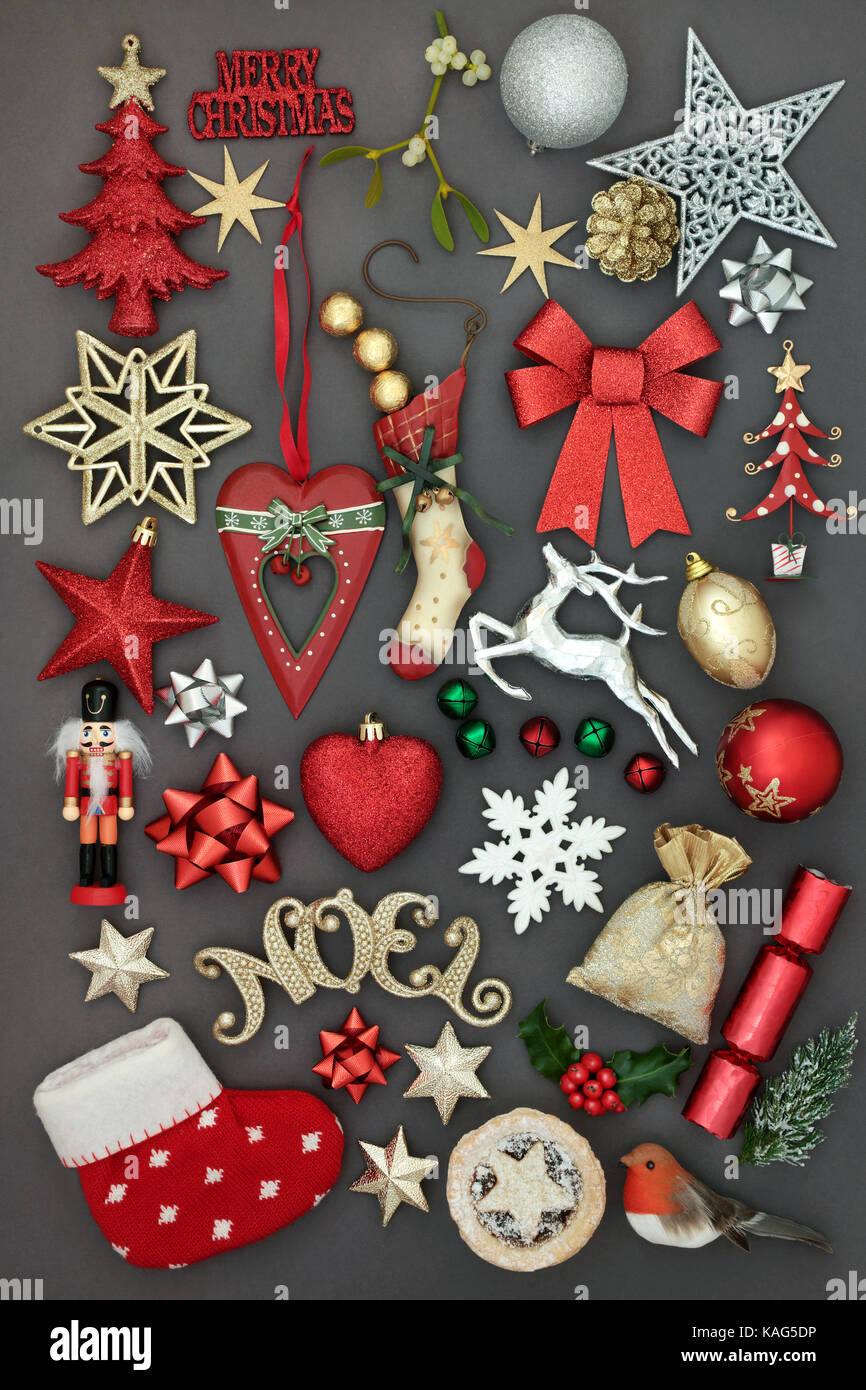 Symbols of merry christmas with new and old fashioned bauble Stock ...