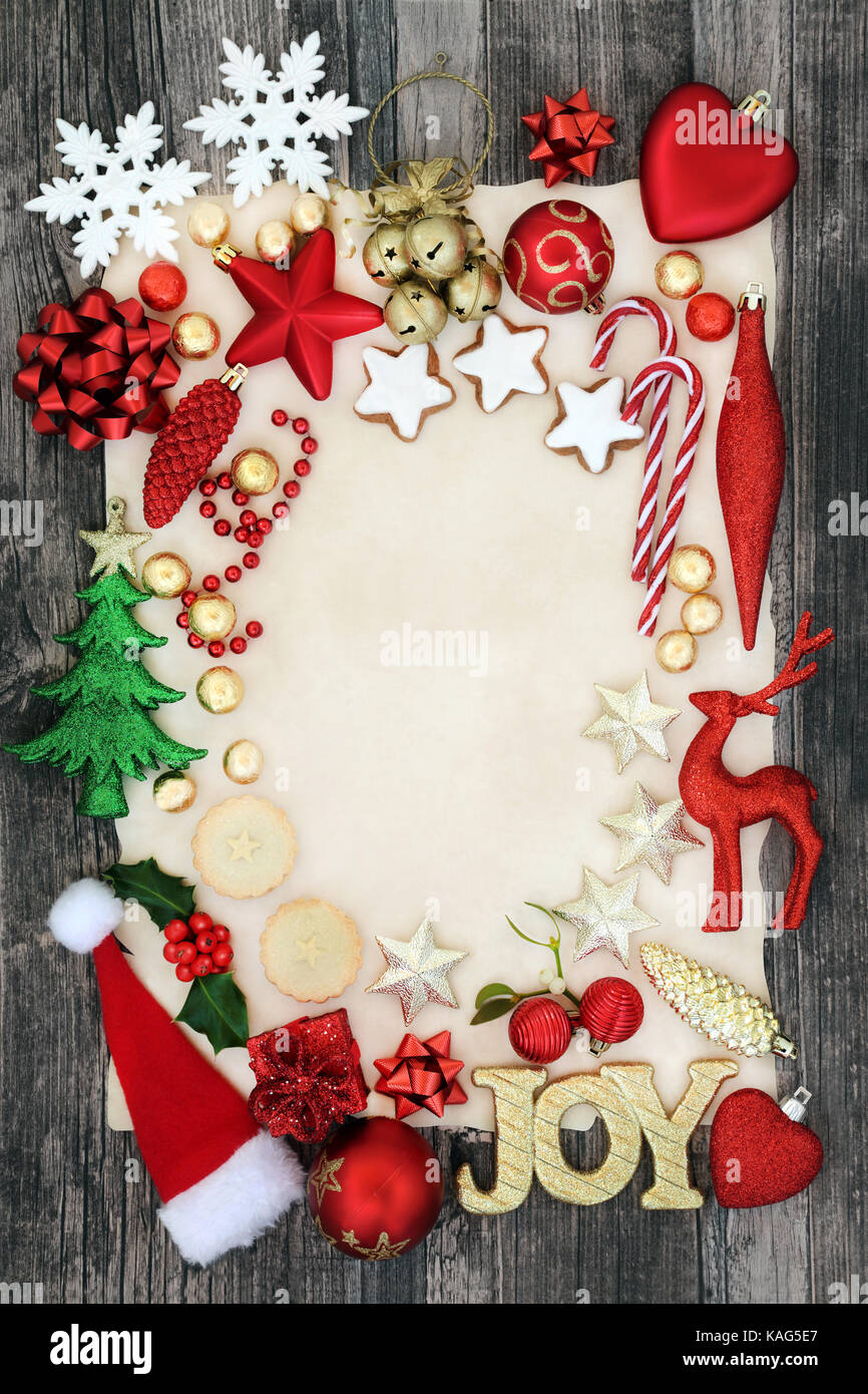 Christmas background border with joy sign, bauble decorations, mince ...