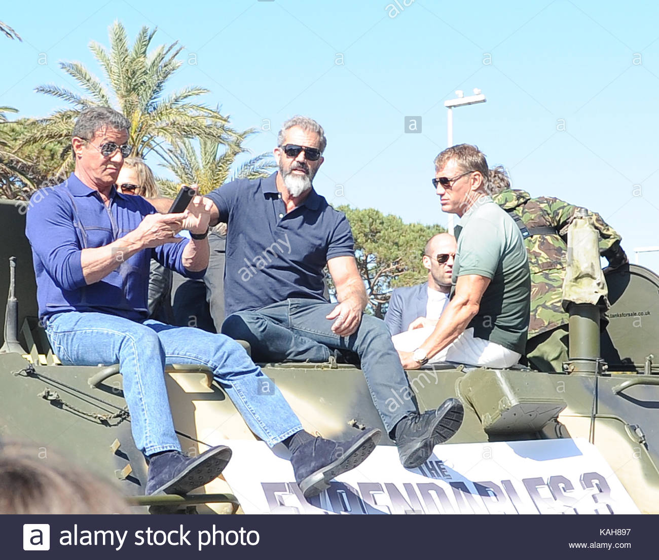 Stars of the Expendables arrived at the Cannes Film Festival on armored cars 05/18/2014 45