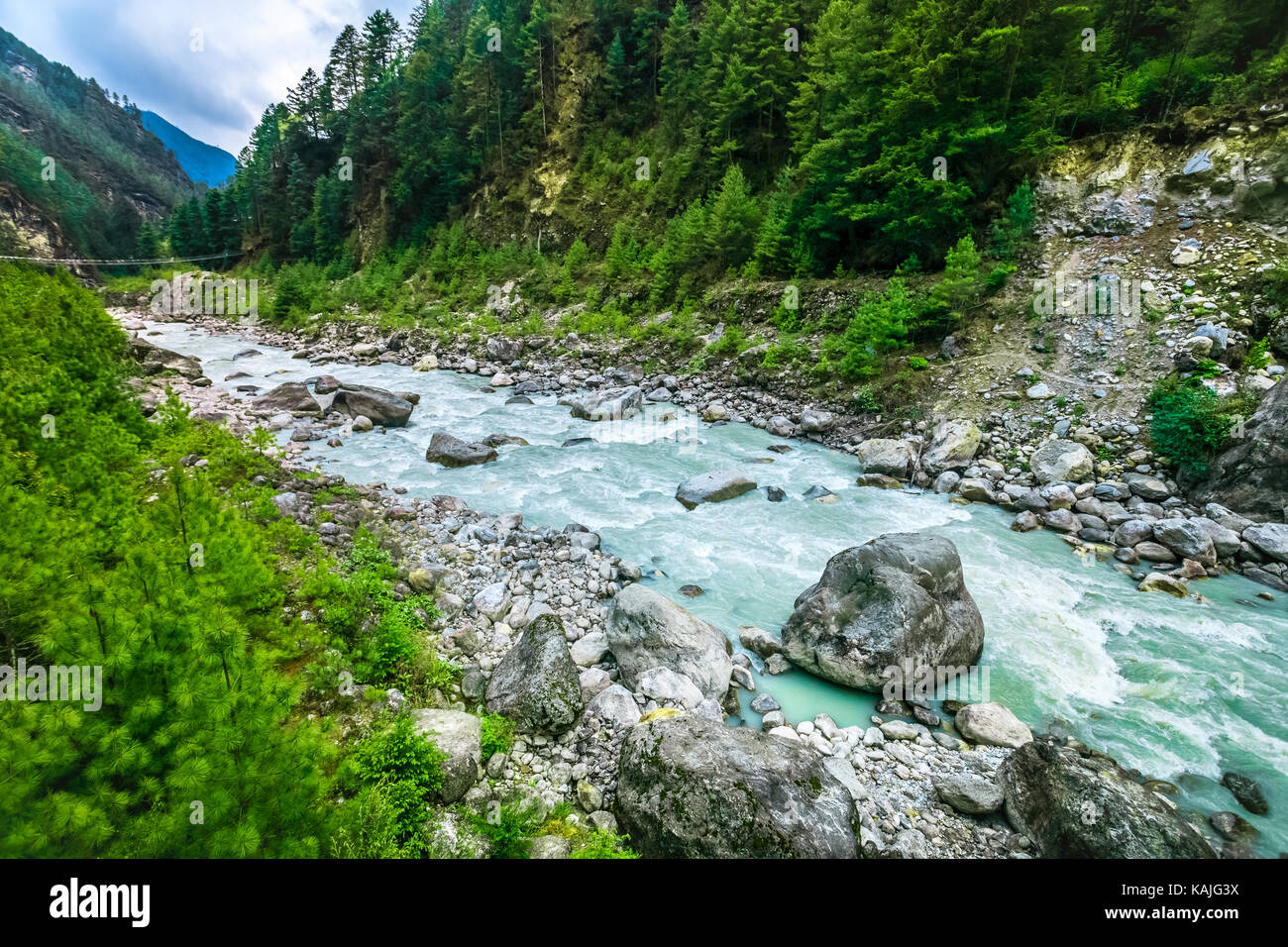 Mountain Valley Beautiful River Landscape And Mountain Forest In