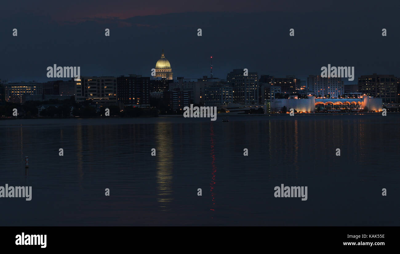 madison wisconsin skyline with the capital and monona terrace stock