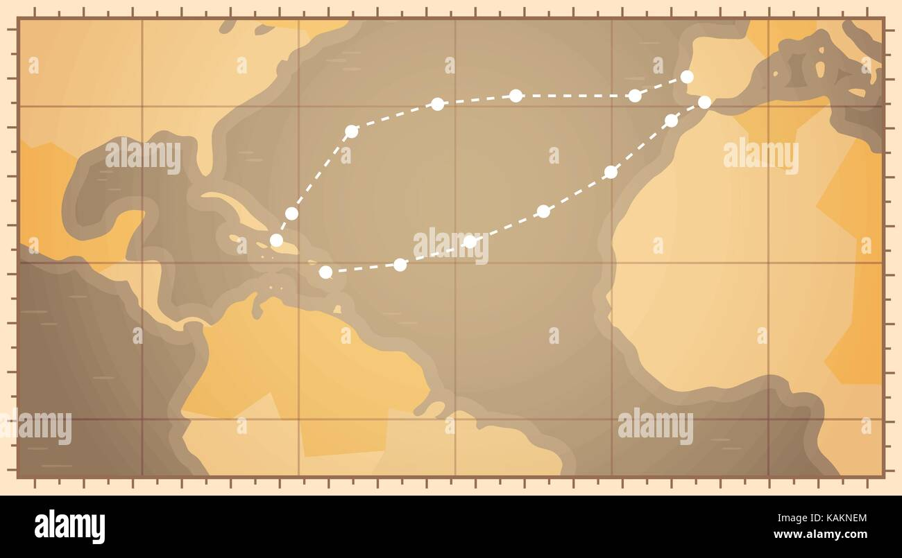 Retro World Map With Columbus Route Happy Colombo Day National Usa
