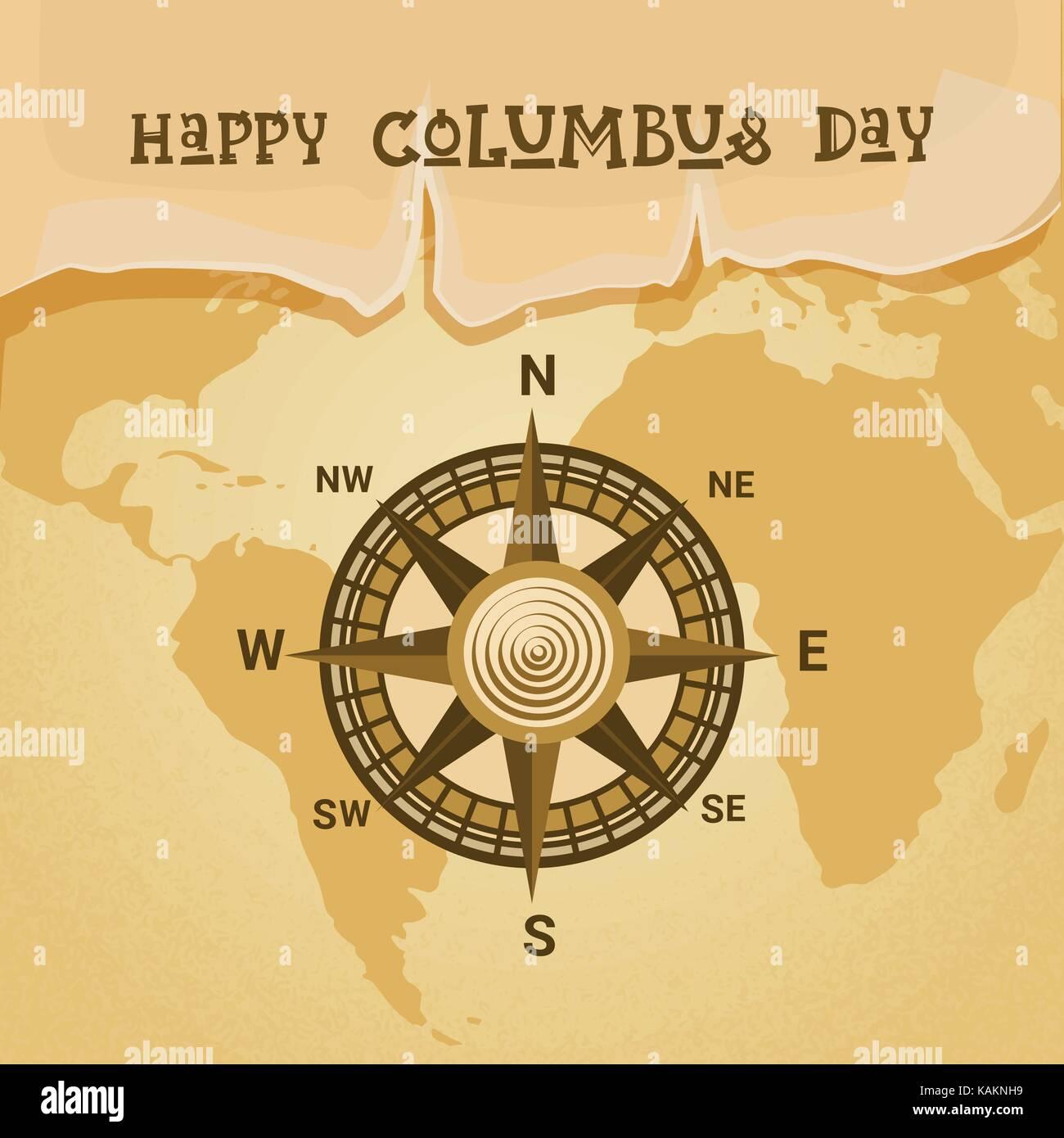 Columbus Day World Map Compass Stock Photos Columbus Day World - Usa map with compass