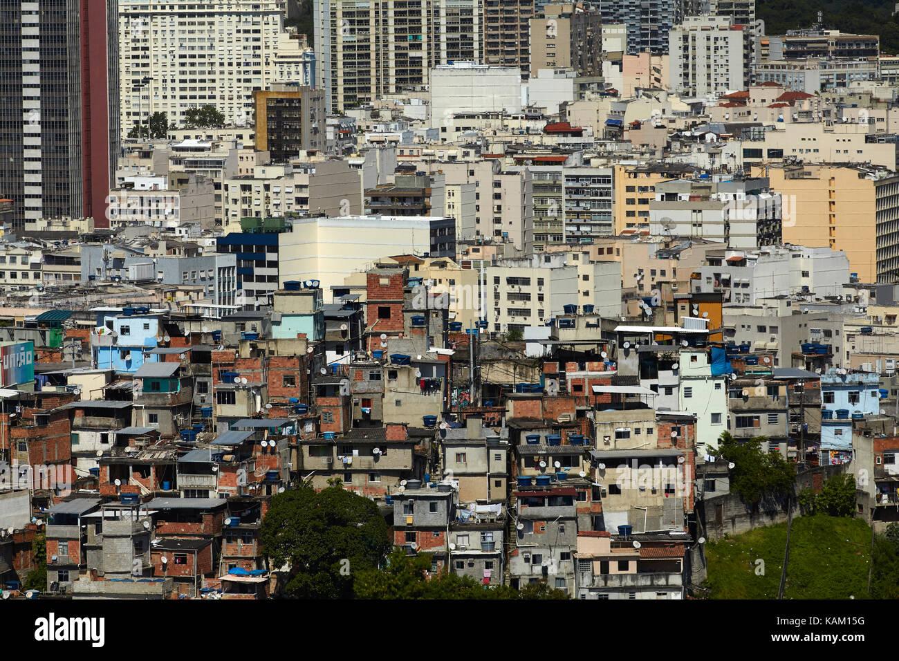 Favela and apartments in Flamengo, Rio de Janeiro, Brazil, South America
