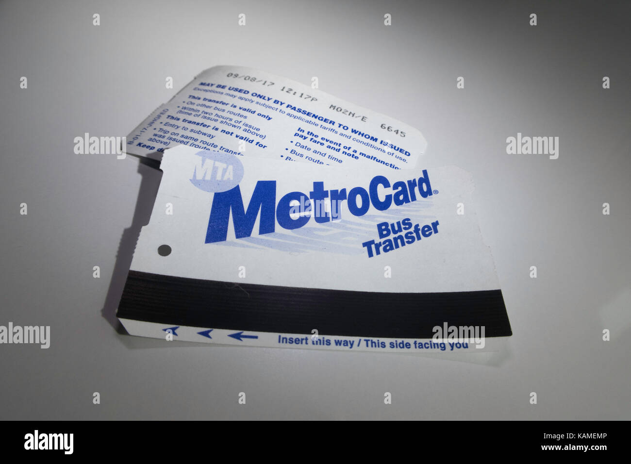 new york city metrocard bus transfer nyc usa stock photo