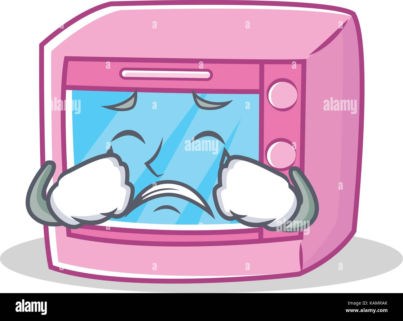 crying oven microwave character cartoon stock vector art