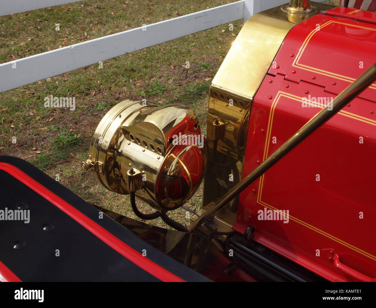 Vintage Automobile Front Center With One Headlight : Brass headlights stock photos