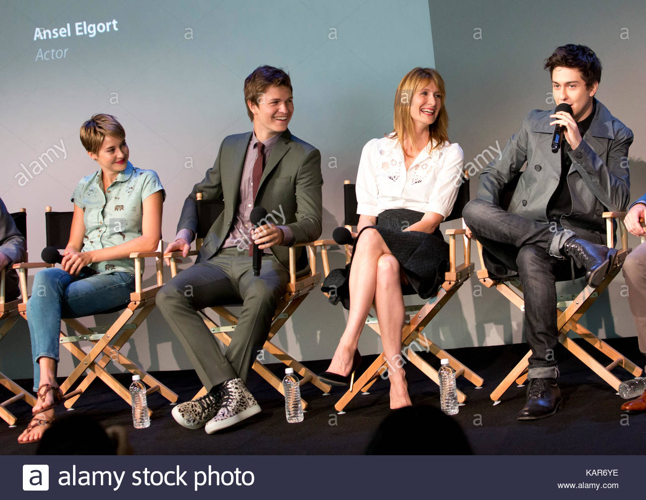 Shailene woodley ansel elgort laura dern nat wolff cast of the shailene woodley ansel elgort laura dern nat wolff cast of the fault in our stars at apple store meet the filmmaker event in ny m4hsunfo