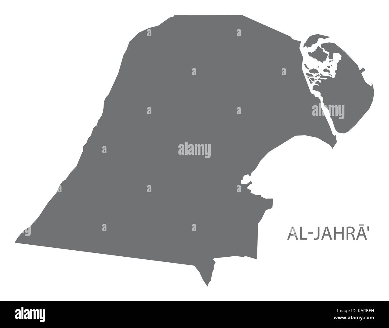 AlJahra province map of Kuwait grey illustration silhouette shape