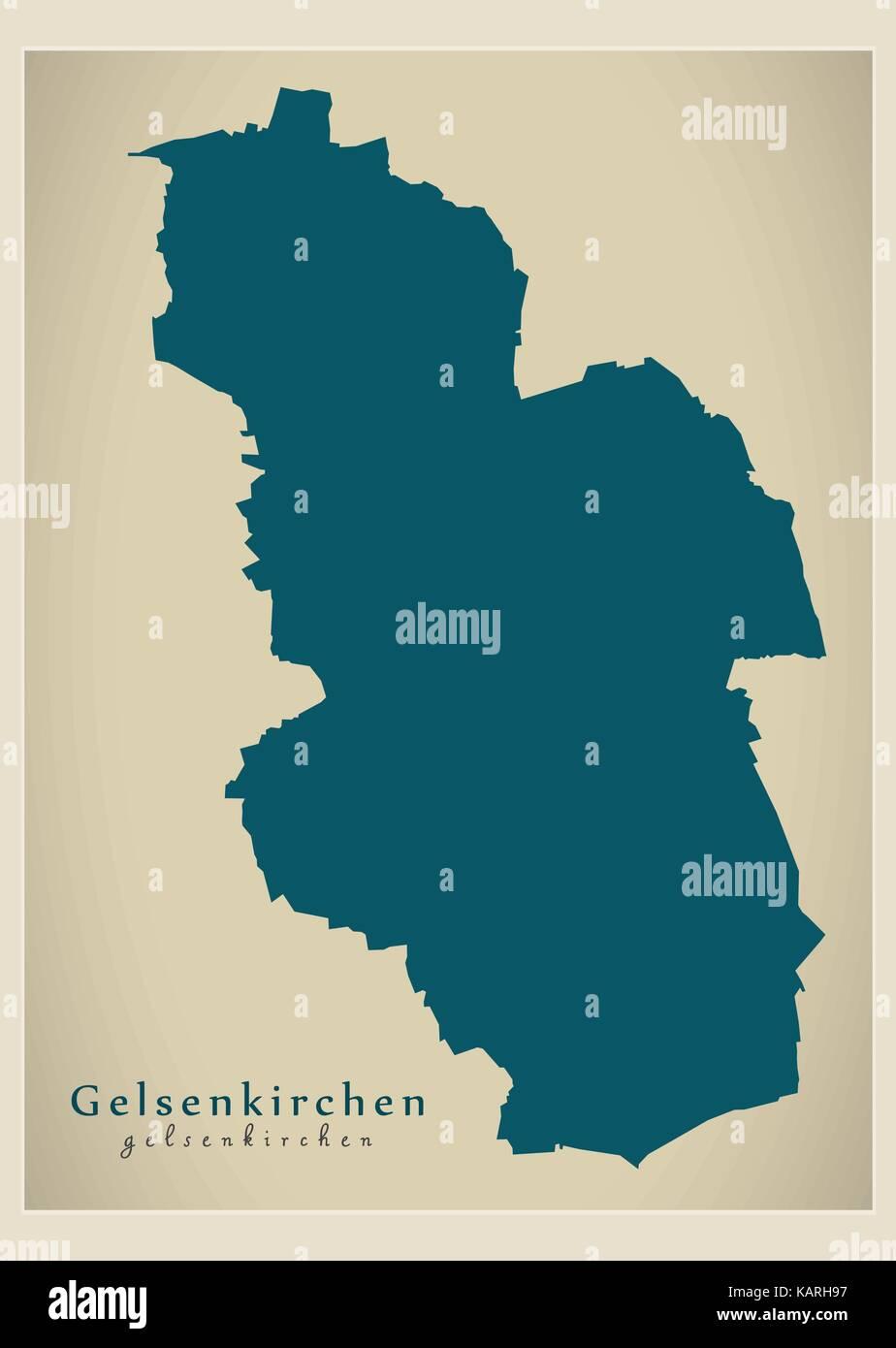 Modern Map Gelsenkirchen city of Germany DE Stock Vector Art