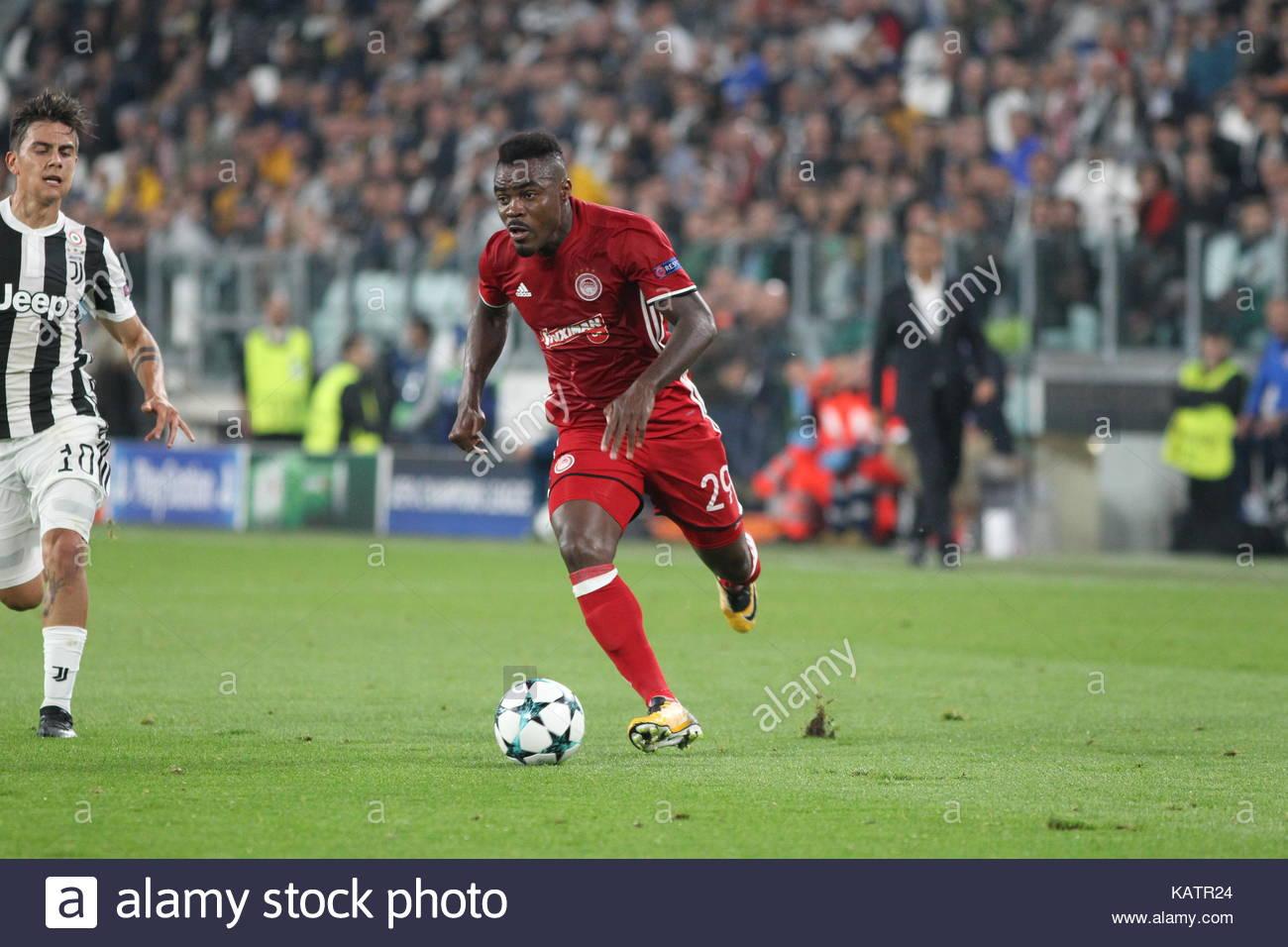 Turin Italy 27th Sep 2017 Emmanuel Emenike Olympiacos FC