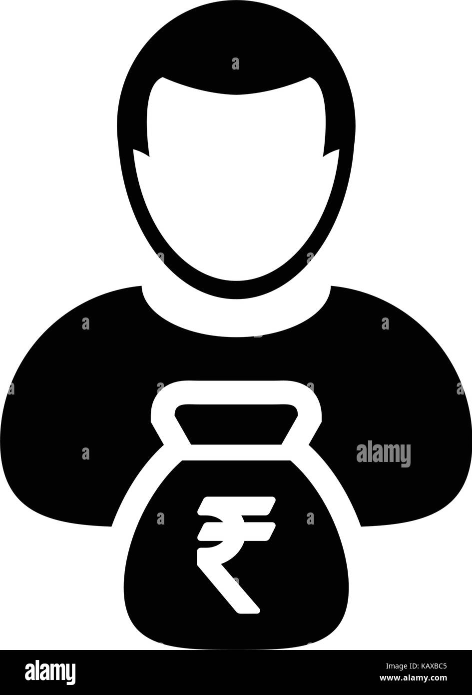 Indian rupee symbol people stock photos indian rupee symbol indian rupee sign icon vector person male avatar symbol with money bag for business finance and buycottarizona