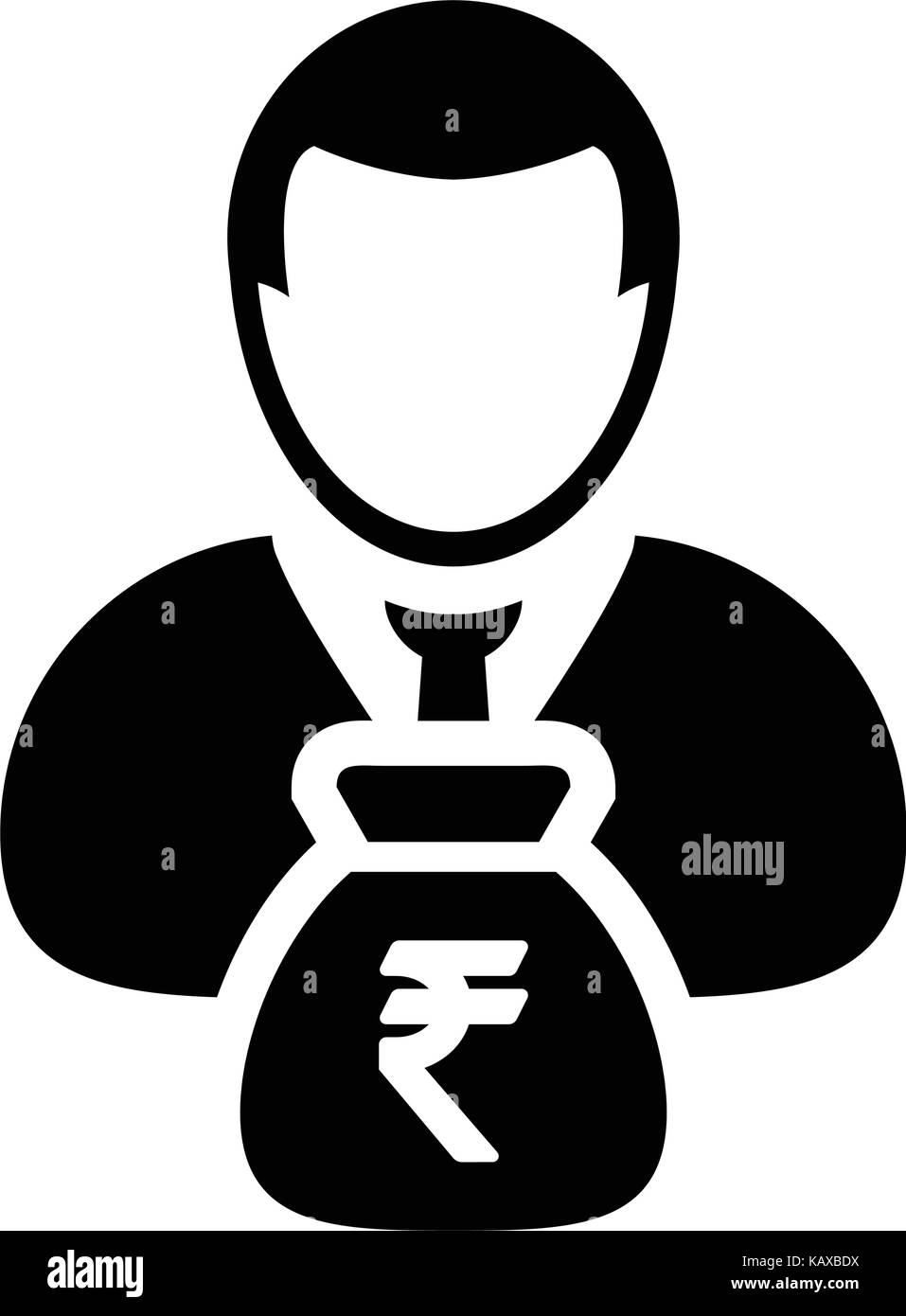 Indian rupee sign icon vector person male avatar symbol with money indian rupee sign icon vector person male avatar symbol with money bag for business finance and bank savings account in glyph pictogram illustration biocorpaavc Choice Image