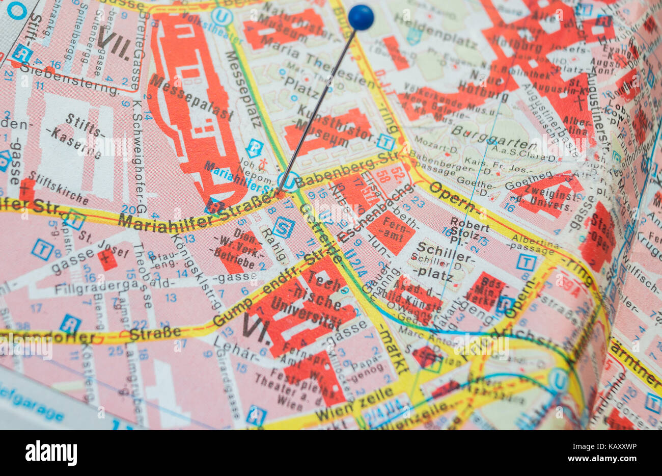 Downtown Vienna map Pin set on the Largest Shopping street Stock