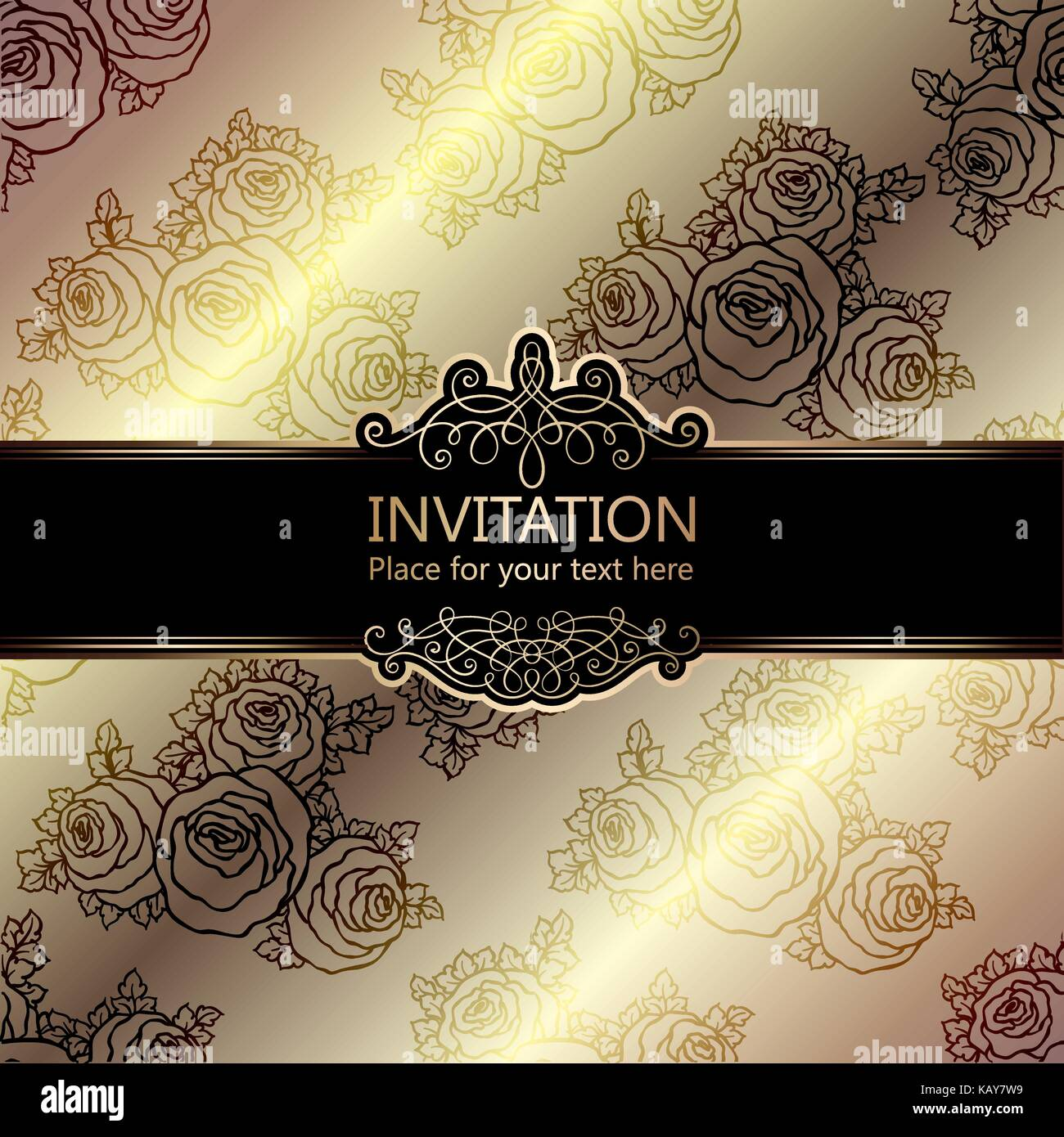 Abstract Background With Roses Luxury Beige And Gold Vintage Frame