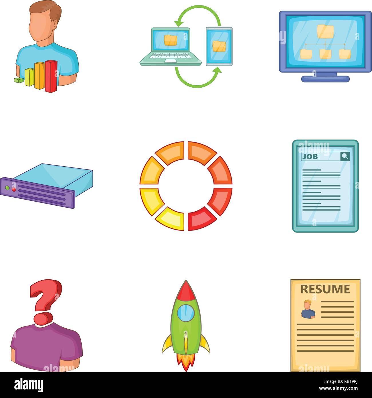 Resume For Work Icons Set Cartoon Style Stock Vector Art