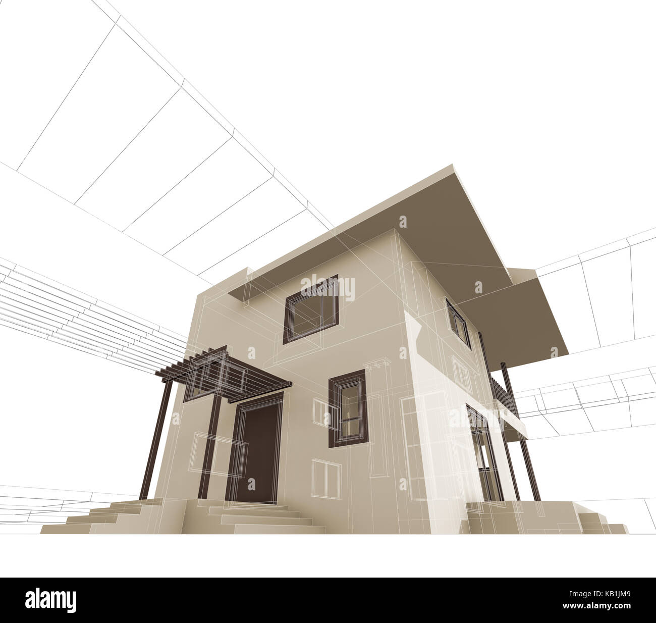 House Construction. Building Design And 3d Rendering Model My Own