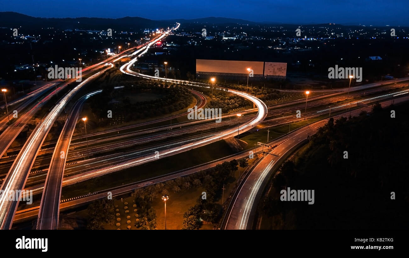 Over Road City Highway At Night