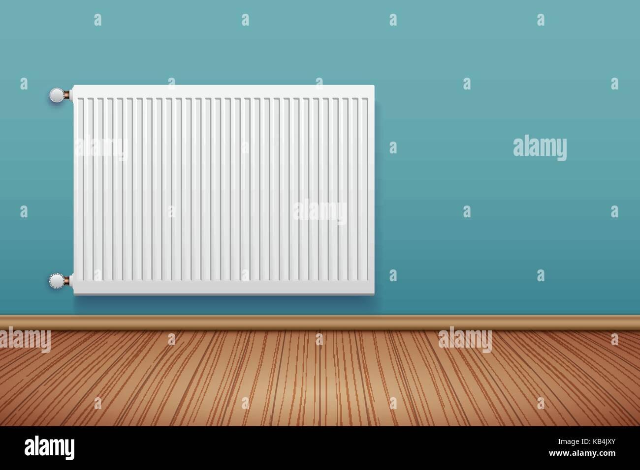 Metal Heating radiator in room Stock Vector Art & Illustration ...