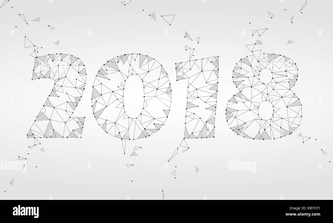 Geometric polygonal 2018 new year greeting card low poly triangle geometric polygonal 2018 new year greeting card low poly triangle future technology neutral gray white background corporate business design vector kristyandbryce Images