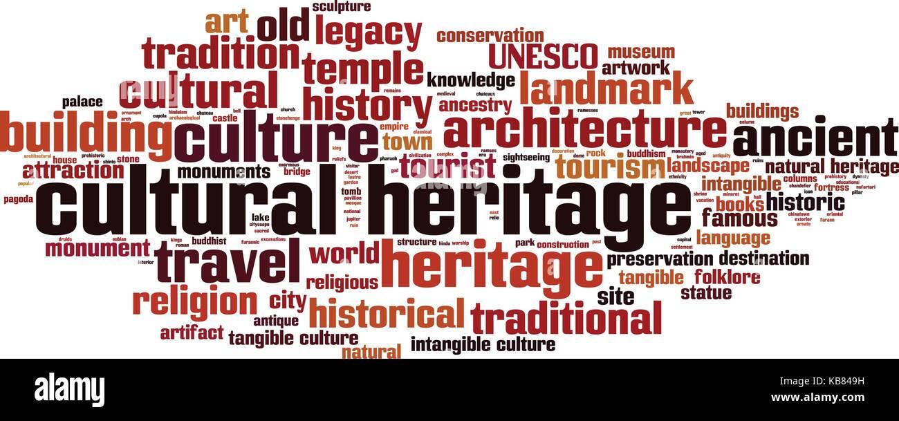 cultural heritage word cloud concept  vector illustration