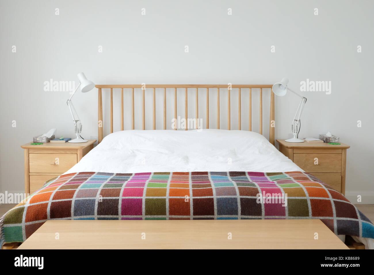 Scandinavian inspired bedroom interior showing wooden bedroom Stock ...