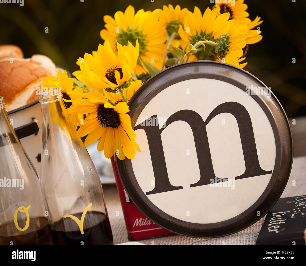 Beautiful Rustic Table Setting With The Letter M Incorporated