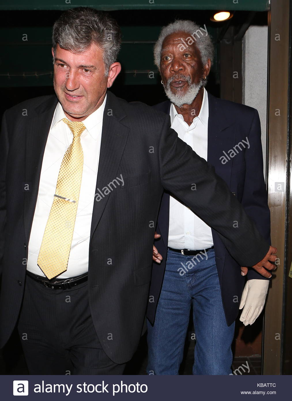 morgan freeman morgan freeman leaves madeo restaurant in beverly hills ca with a glove on his left hand