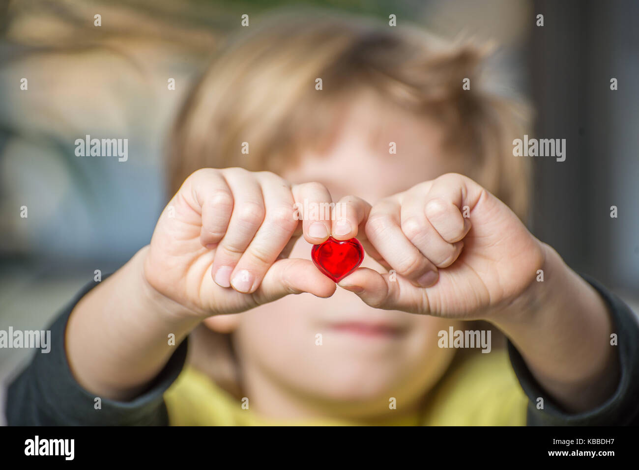 Close up of a boy\'s hands holding a red heart Stock Photo, Royalty ...