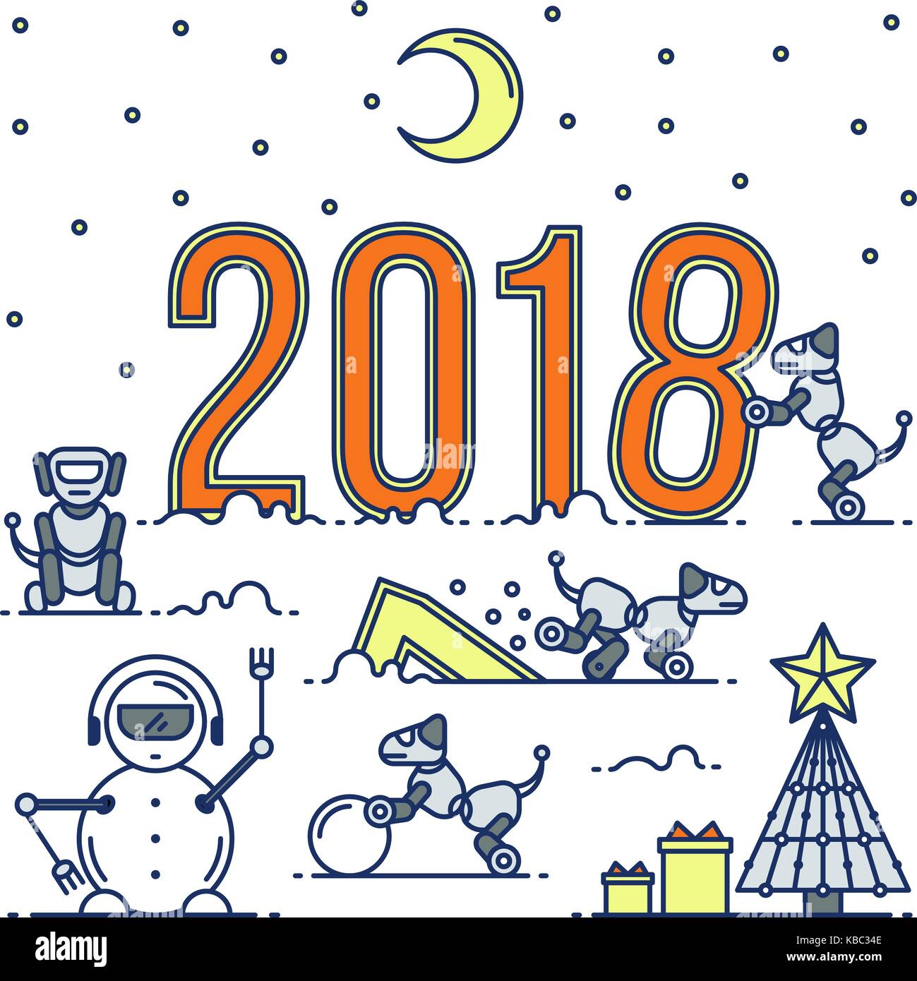 future technology new year card vector modern graphic thin outline illustration in a linear design