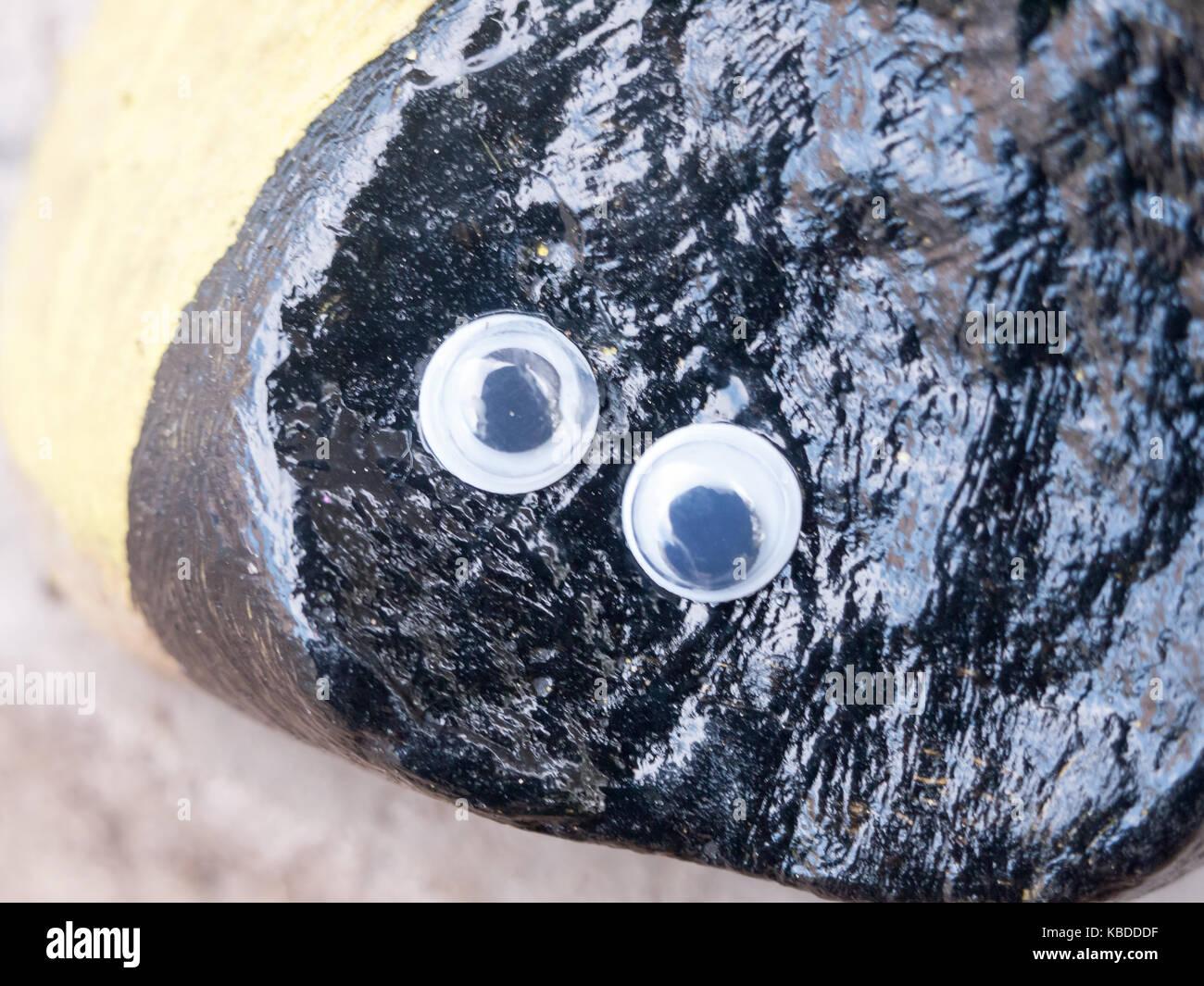 close up of funny cartoon googly eyes on black rock essex england