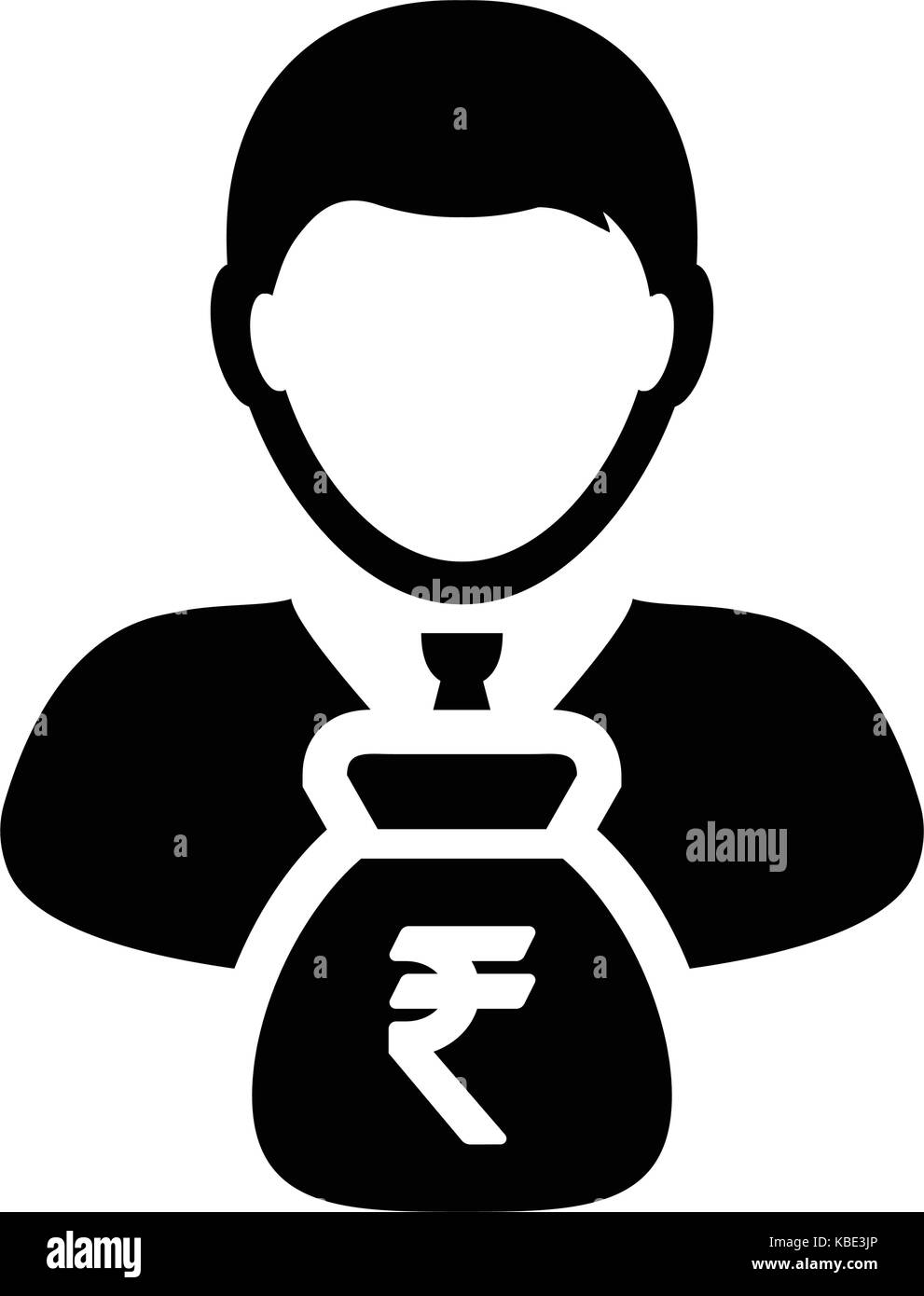 Indian Rupee Sign Icon Vector Person Male Avatar Symbol With Money
