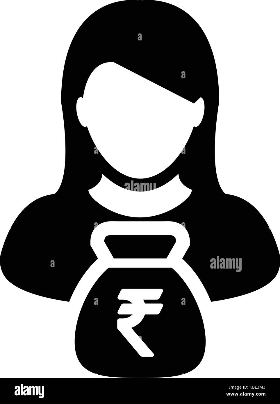 Indian rupee black and white stock photos images alamy indian rupee sign icon vector person female avatar symbol with money bag for business finance and biocorpaavc Choice Image