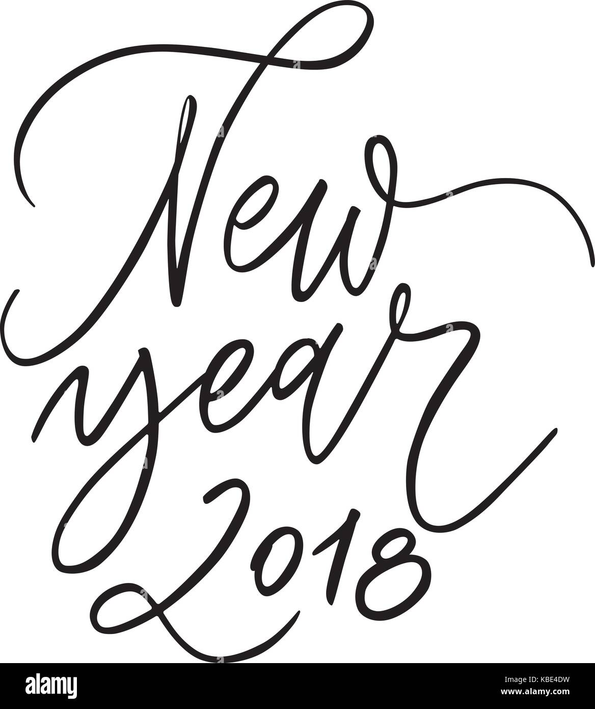 Happy New Year 2018 - phrase. Holiday lettering ink illustration ...