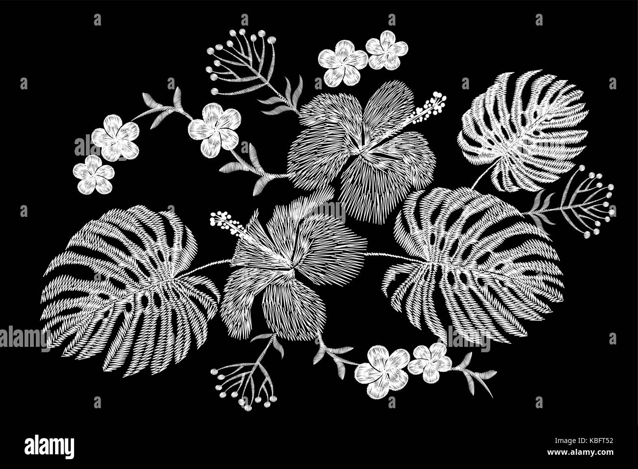 Tropical Embroidery Flower Arrangement Exotic Plant Blossom Summer