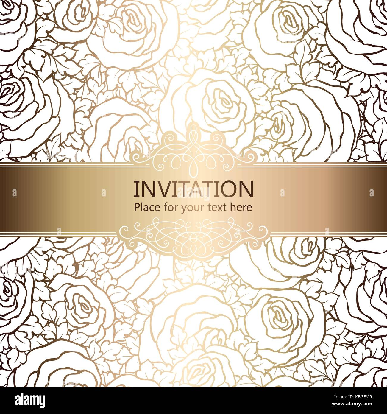 Abstract Background With Roses Luxury White And Gold Vintage Frame