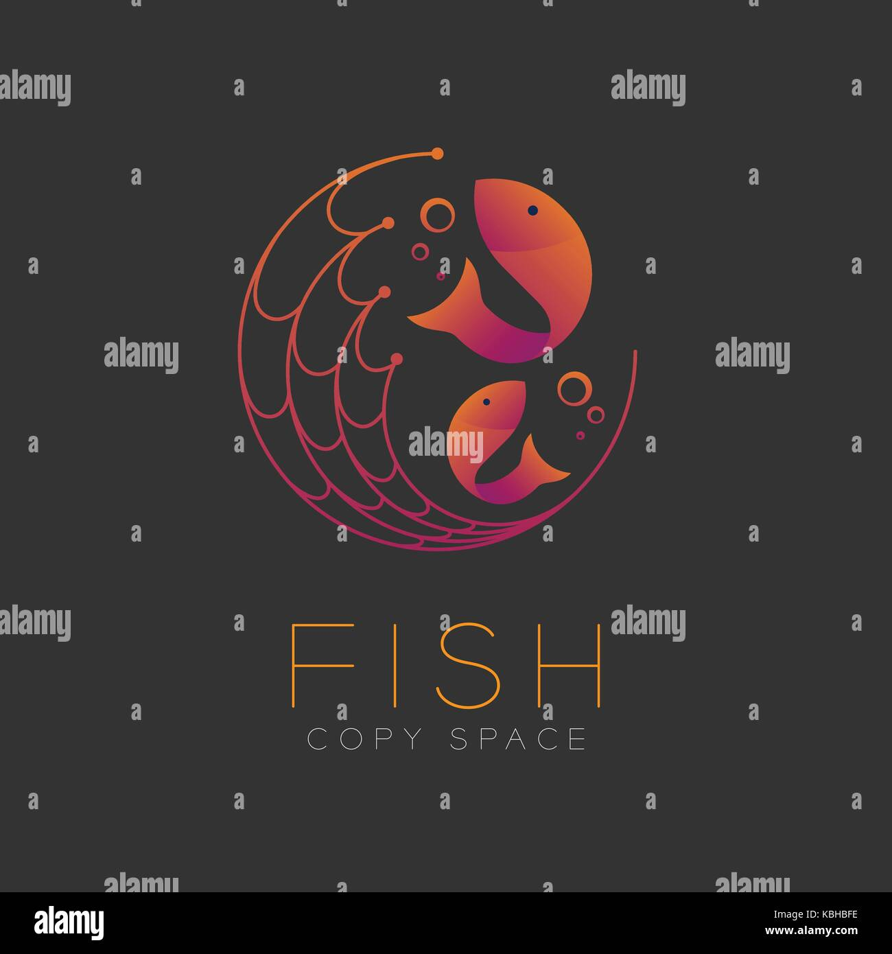 Fish symbol icon and fishing net air bubble set orange violet stock fish symbol icon and fishing net air bubble set orange violet gradient color design illustration isolated on dark background with fish text and copy buycottarizona Gallery