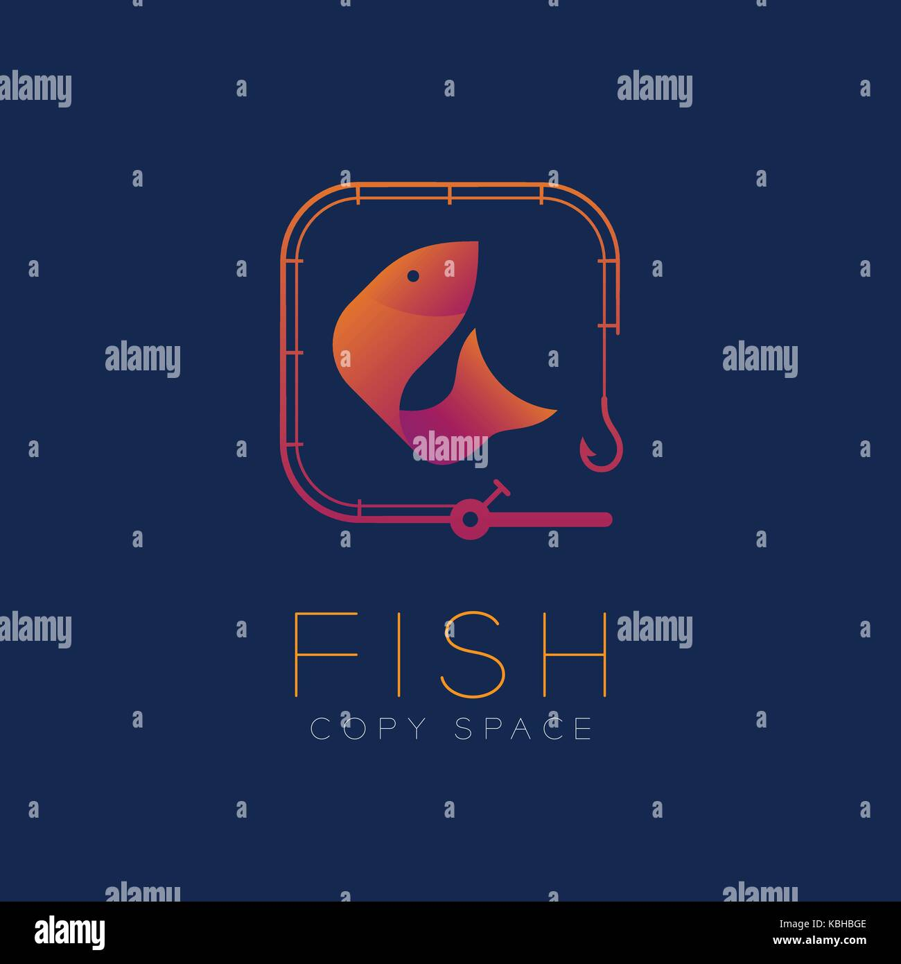 Fish symbol icon and fishing rod set orange violet gradient color fish symbol icon and fishing rod set orange violet gradient color design illustration isolated on dark blue background with fish text and copy space buycottarizona Gallery