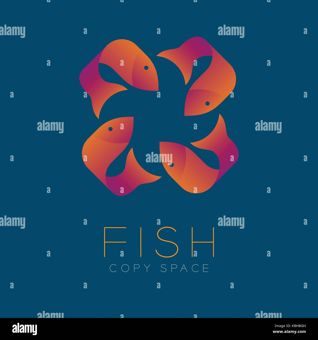 Four fish symbol icon set orange violet gradient color design stock four fish symbol icon set orange violet gradient color design illustration isolated on blue color background with fish text and copy space vector eps buycottarizona Gallery