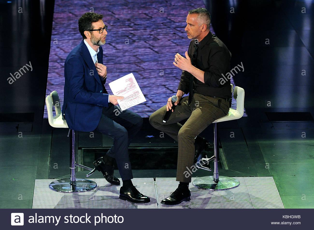Fabio Fazio And Eros Ramazzotti Eros Ramazzotti Appears On The Italian Tv Show Che Fuori Tempo Che Fa Hosted By Fabio Fazio At Rai Studios In Milan