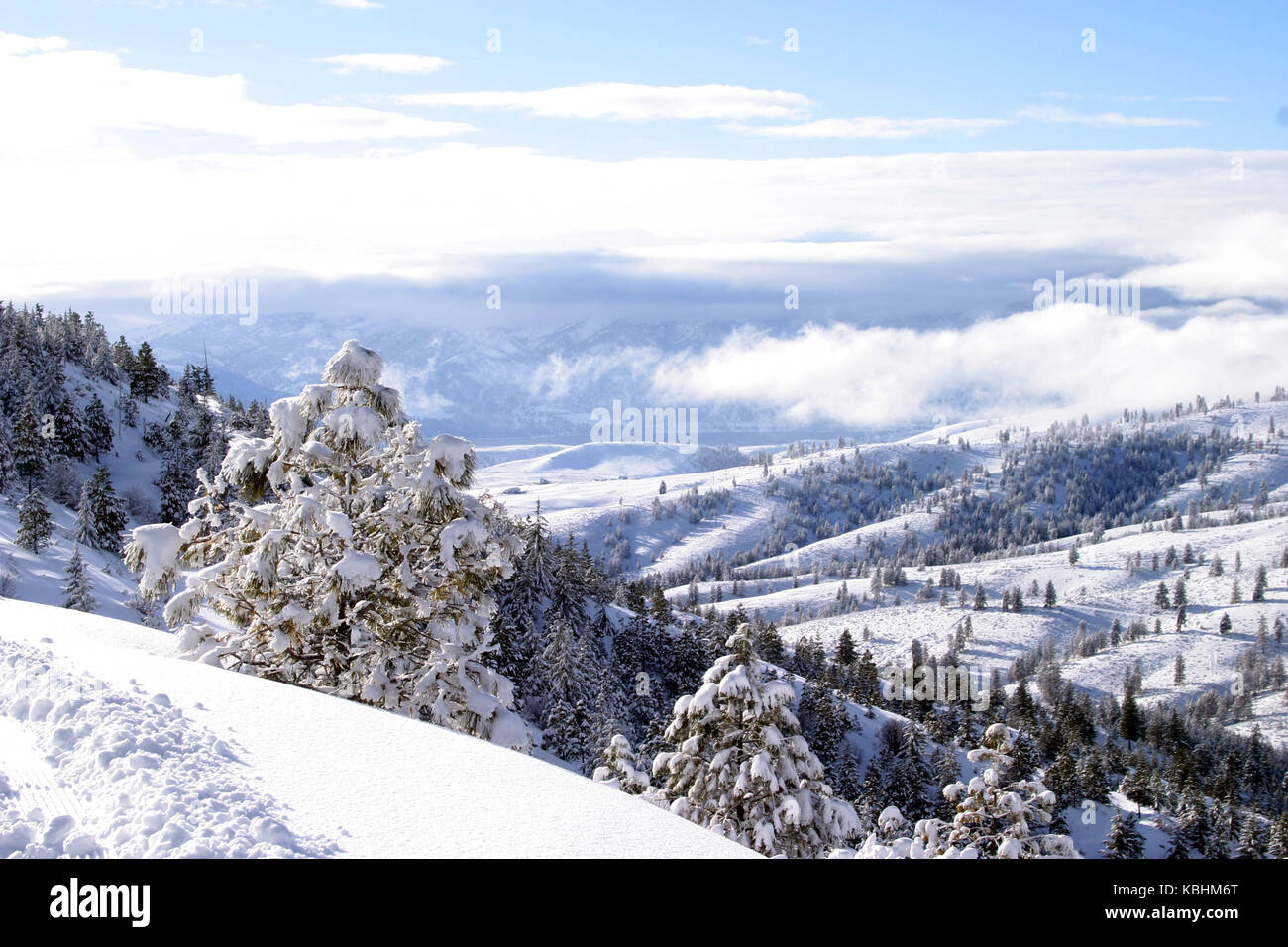 a winter scene of the lake chelan valley from the echo ridge nordic