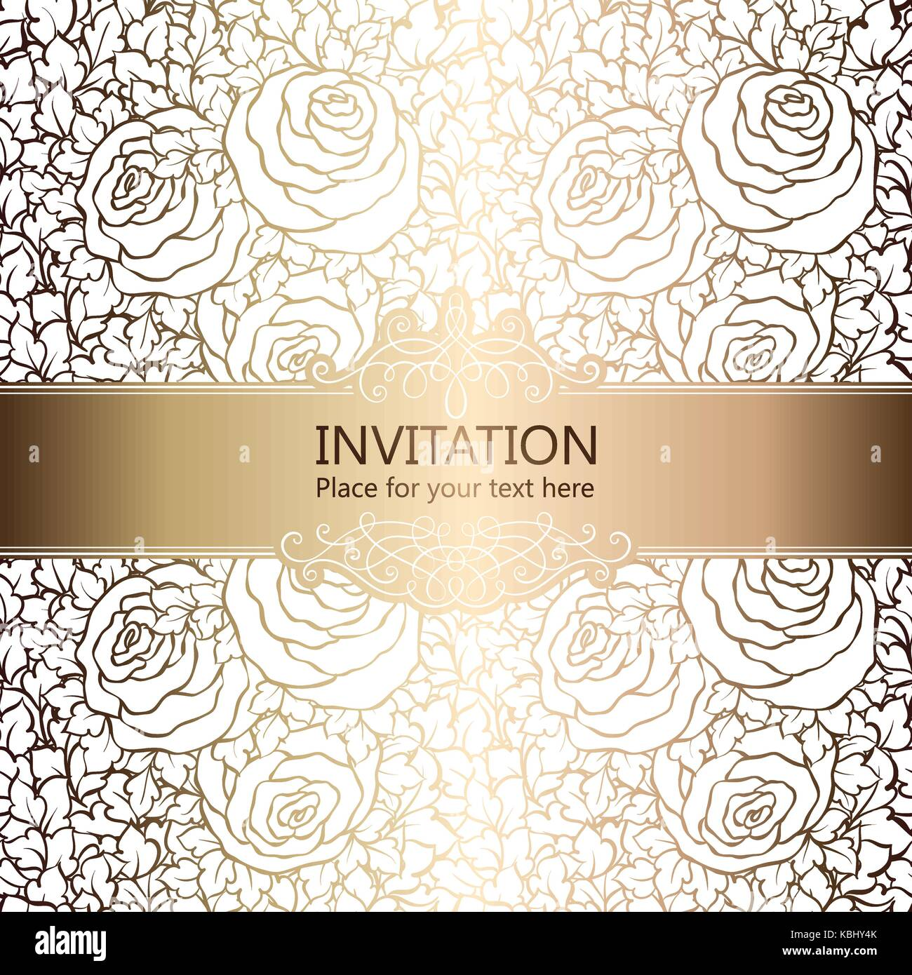 Abstract Background With Roses Luxury White And Gold Vintage Frame Victorian Banner Damask Floral Wallpaper Ornaments Invitation Card Baroque Sty