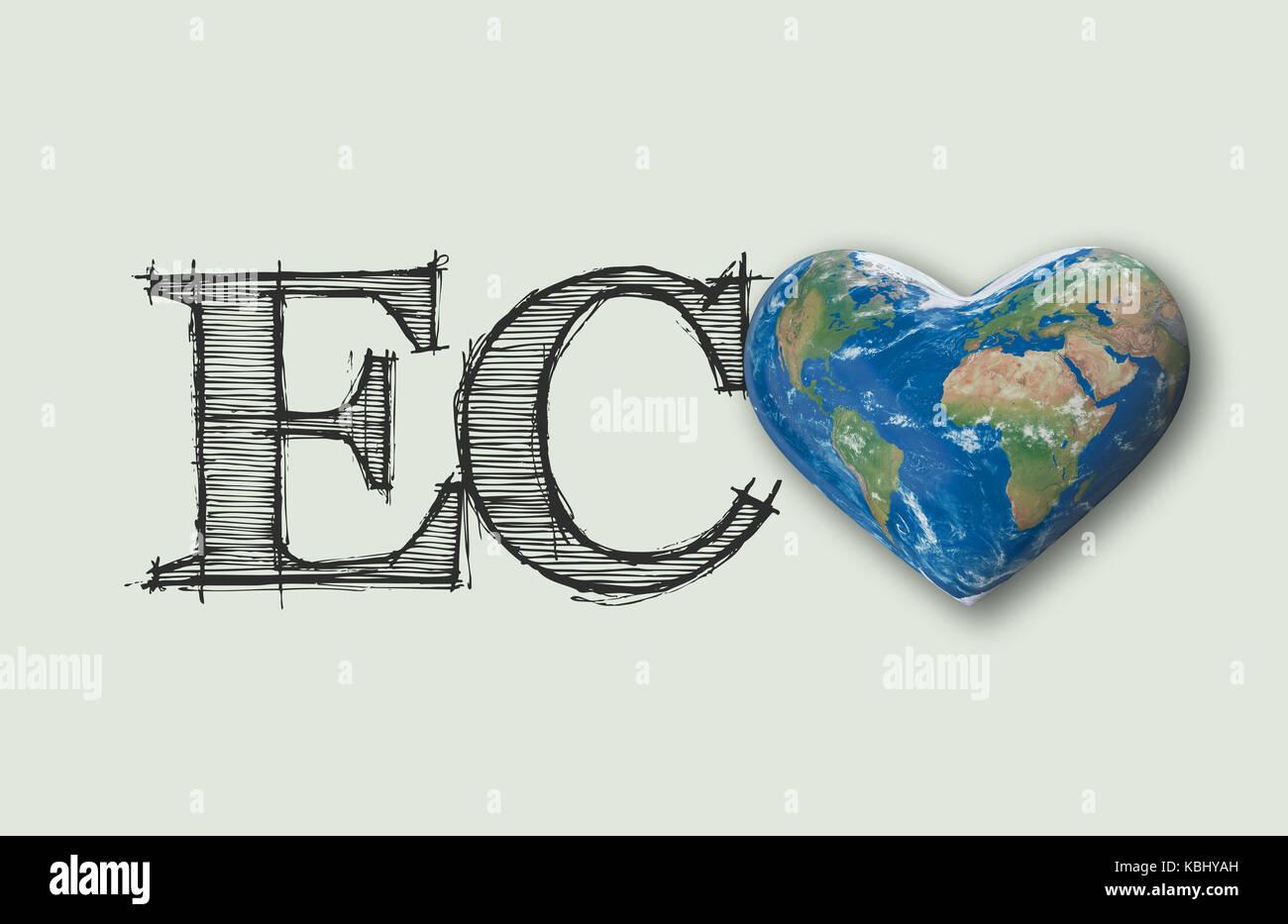 Eco world heart message 3d rendering stock photo royalty free eco world heart message 3d rendering biocorpaavc