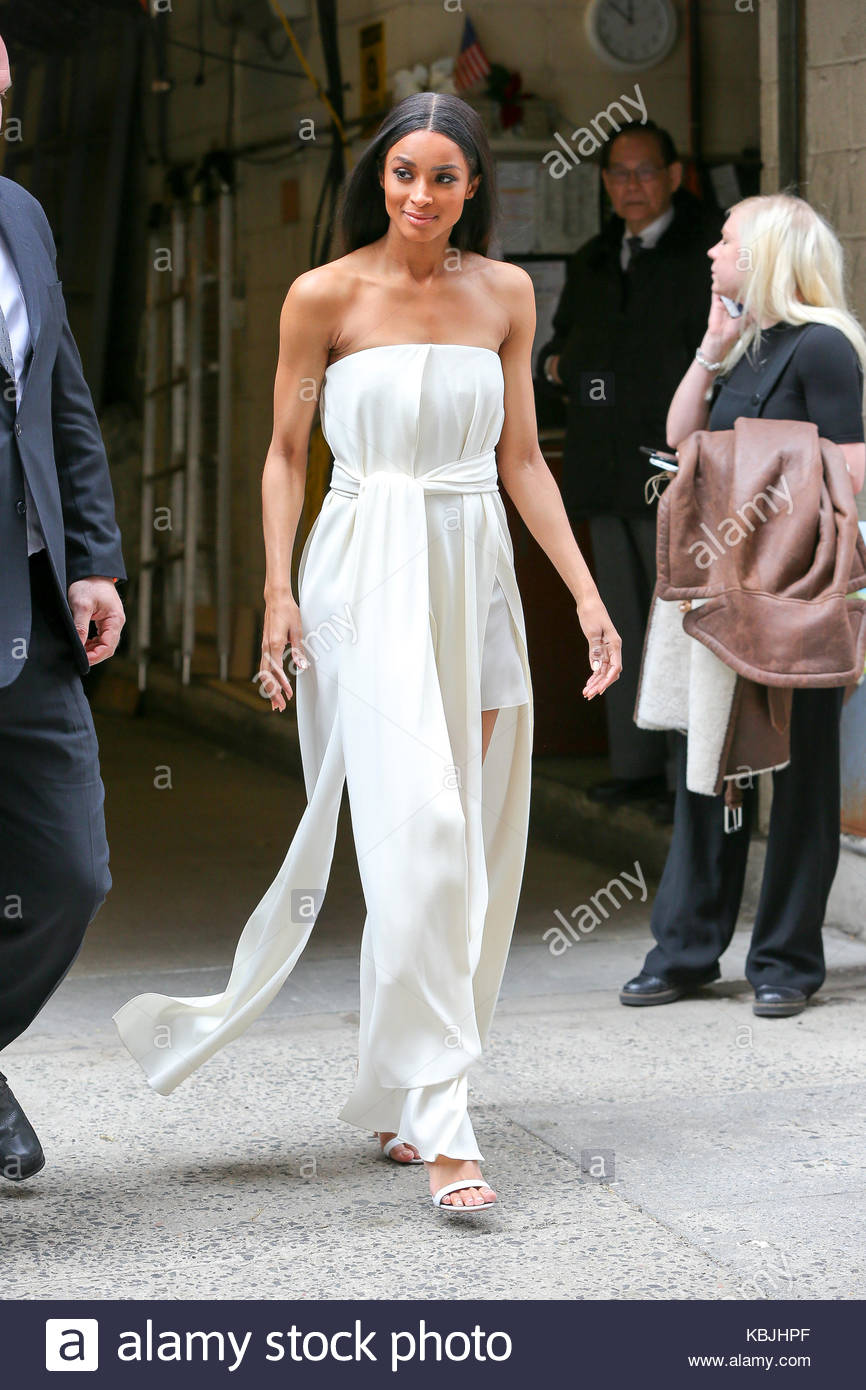 Ciara Ciara Wears A White Gown Dress For Her Appearance On Live